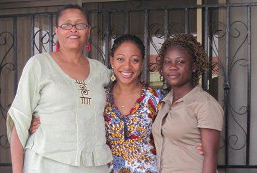 Members of the All African Women's Revolutionary Union alongside Samia Nkrumah, daughter of Kwame Nkrumah