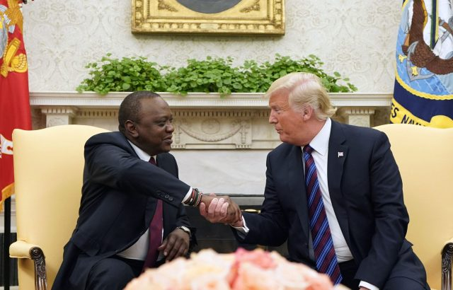 Presidents Uhuru Kenyatta and Donald Trump during the talks int he White House on February 6, 2020.