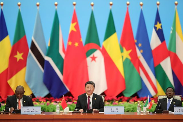 Chinese President Xi Jinping speaks next to South African President Cyril Ramaphosa during the 2018 Beijing Summit Of The Forum On China-Africa Cooperation