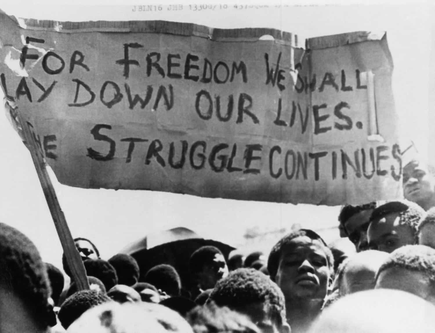"""An African holds a sign that says """"For freedom we shall lay down our lives. The struggle continues"""""""