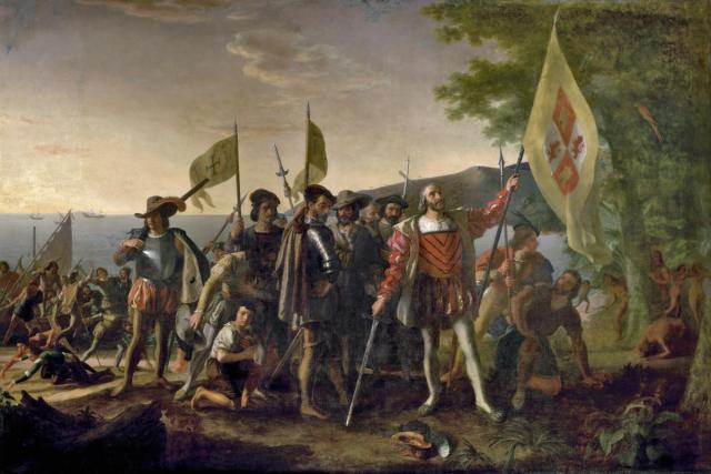 A painting depicting the landing of Christopher Columbus