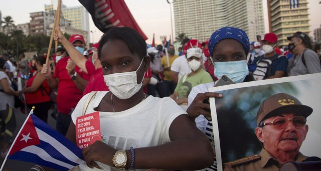 Africans at a mobilization in Cuba