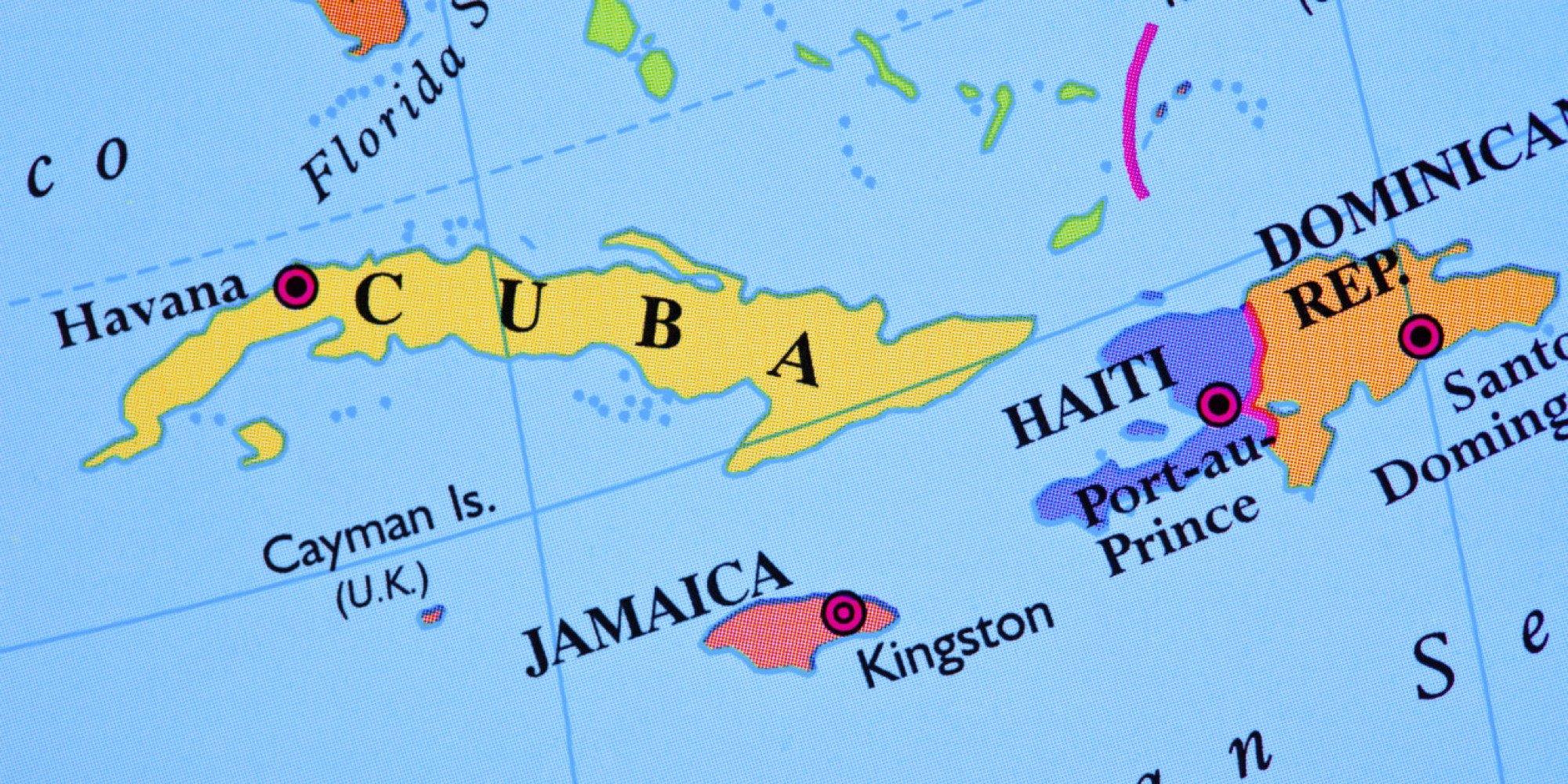 A map of Cuba and Haiti