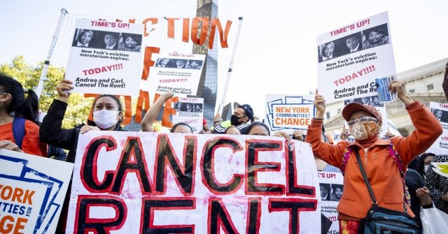 A protest in New York calling for an extension of eviction moratoriums and a cancellation of rent.
