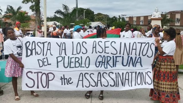 Garifuna women protest violence from the US-backed Honduran state.