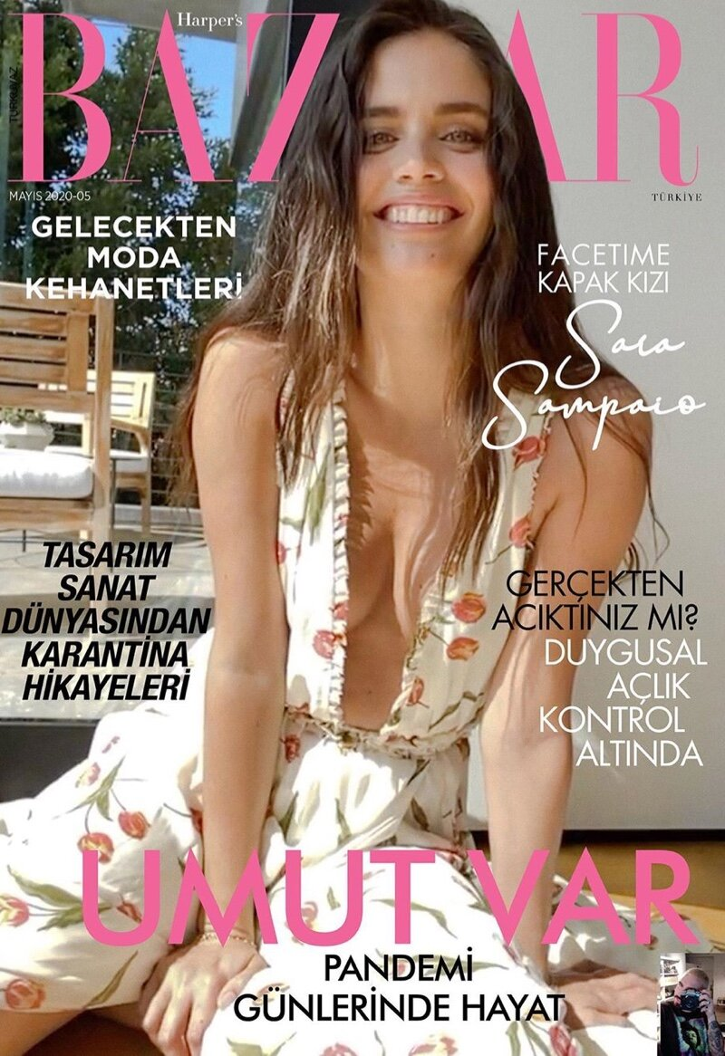 Sara Sampaio Poses on Face Time For Harper's Bazaar Turkey's May 2020 Issue. Photographed by Jack Waterlot.
