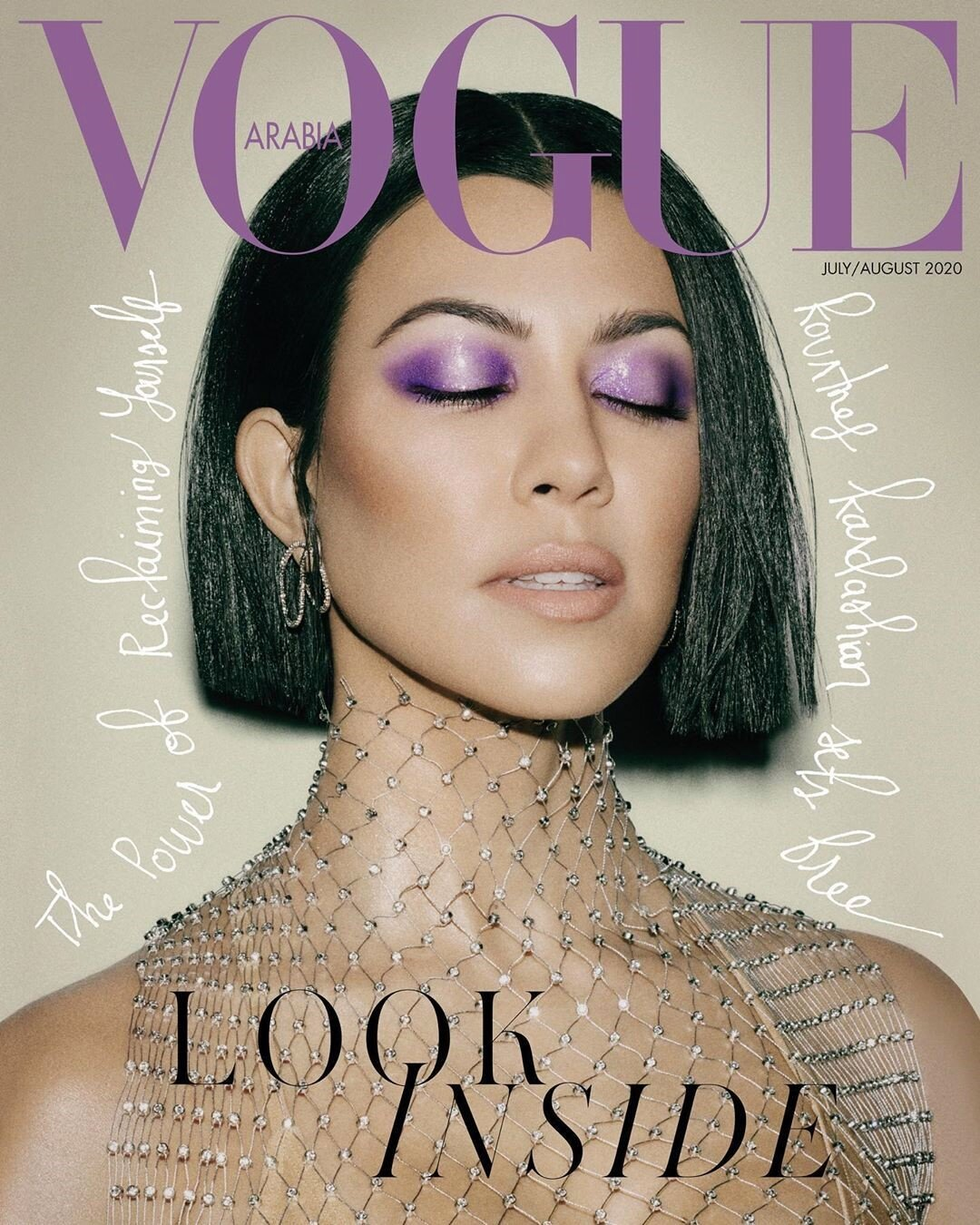 Kourtney Kardashian covers the July/August 2020 issue of Vogue Arabia. Photographed by Arved Colvin-Smith and styled by Graham Cruz.