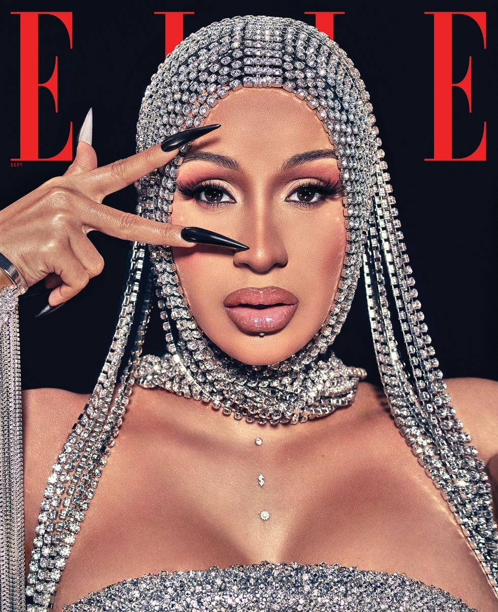 Cardi B covers the September 2020 issue of ELLE Magazine US. Photographed by Steven Klein
