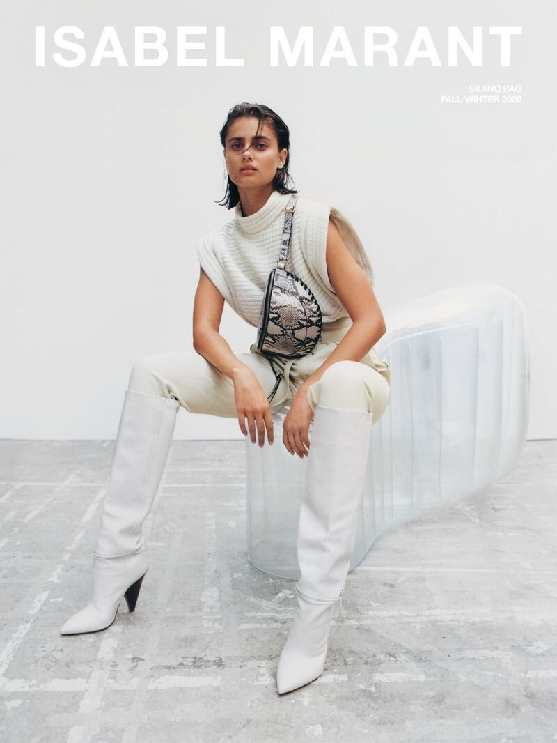 Taylor Hill for Isabel Marant Fall 2020 Accessories Campaign. Photographed by Mark Rabadan