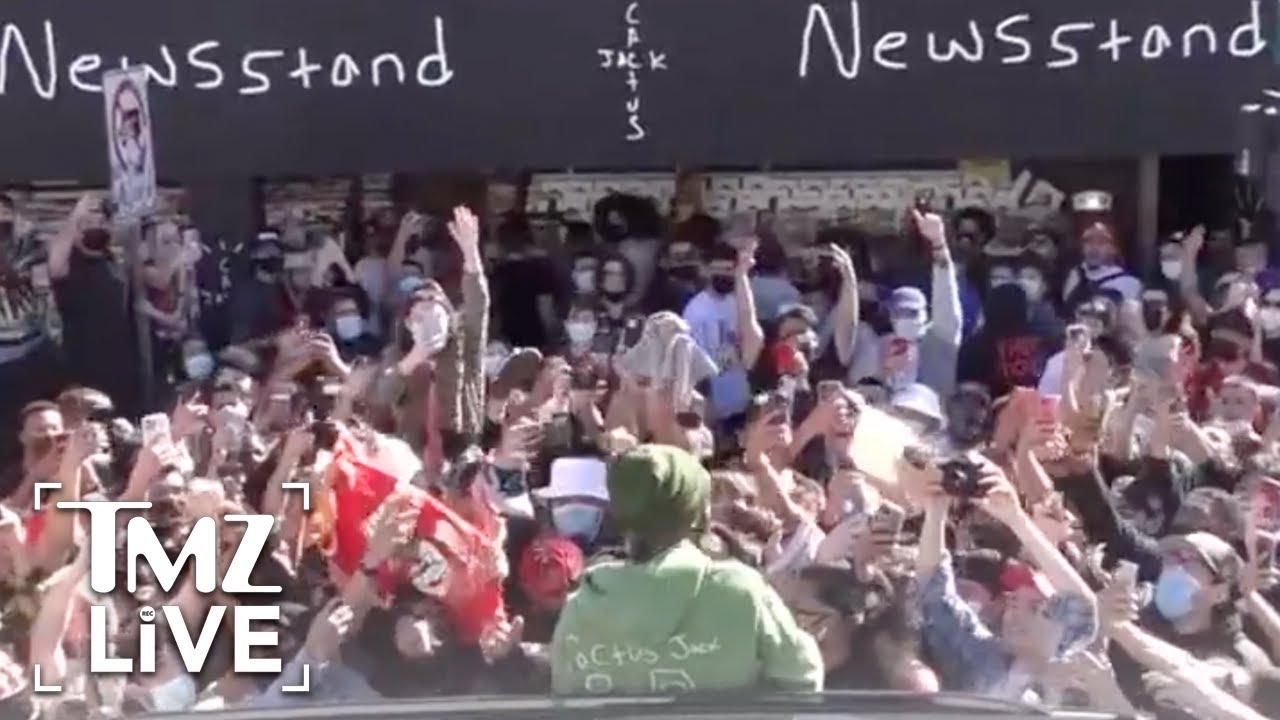 Travis Scott Draws Massive Crowd at New Magazine Launch   TMZ Live
