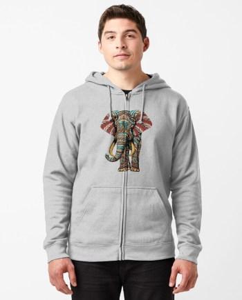 Ornate Elephant (Color Version) Zipped Hoodie
