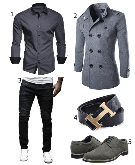Grauer Mantel Outfit