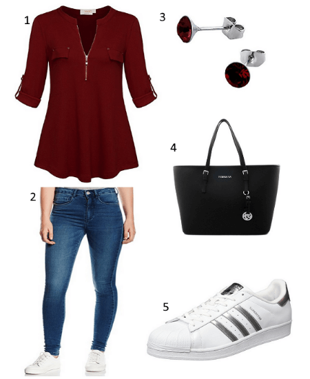 Zipper Bluse Outfit