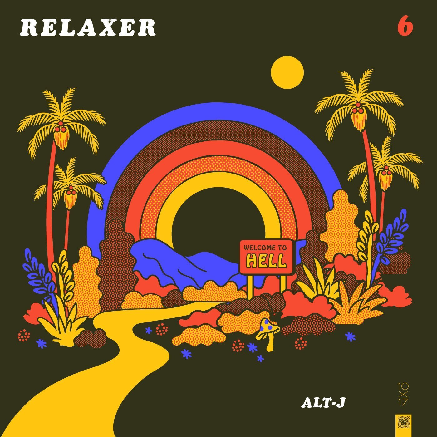 Alt-J Album Cover Reimagined by Amy Hood - Island scene with palm trees and rainbow