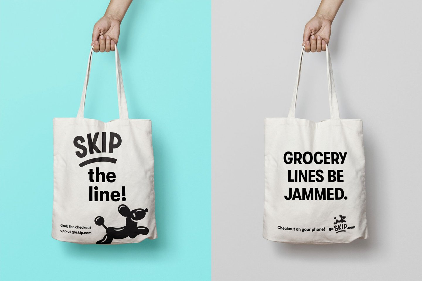 Skip checkout canvas tote grocery bag - Brand Identity by Hoodzpah Design in Orange County