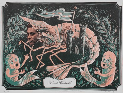 """""""Prawn Emanuel,"""" by Liz Born. 11x15'' three-color reduction linocut, printed in a limited edition of 35."""
