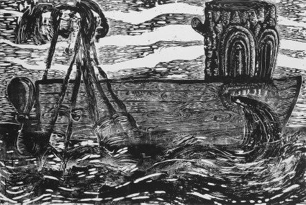 """Night Trawler: Stars and Stripes,"" by Gabe Hoare. 40x60'' woodcut on canvas, limited edition of 10. $500."