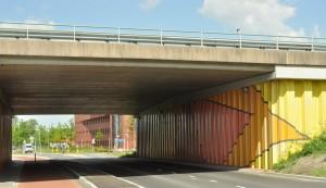 Dancing Square Ineke Heijstee Viaduct Peizerwg A7 naar transferium 1996