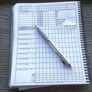 Perfect night for baseball scorebook scorekeeping