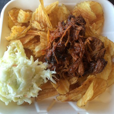 The pulled pork, slaw, and chips were a pretty good lunch.
