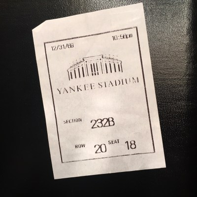 """This is the """"ticket"""" I was told I could get at Yankee Stadium. Dated and timed all funky."""