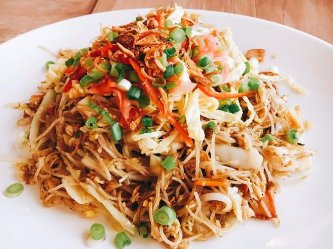 Pickled ginger gives a perky lift to Fried Rice Noodles Macanese Style at Fat Tea