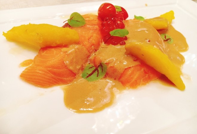 Norwegian Atlantic Salmon & Fjord Trout -- slow cooked, miso butter, red sorrel, salmon roe, saffron potato