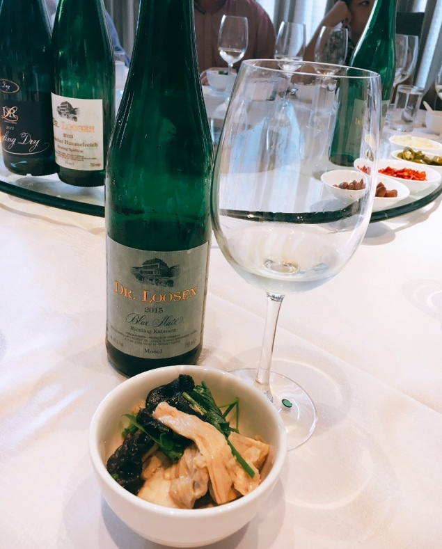Steamed Giant Grouper with Beancurd Skin & Fungus was served with Blue Slate Riesling Kabinett 2015