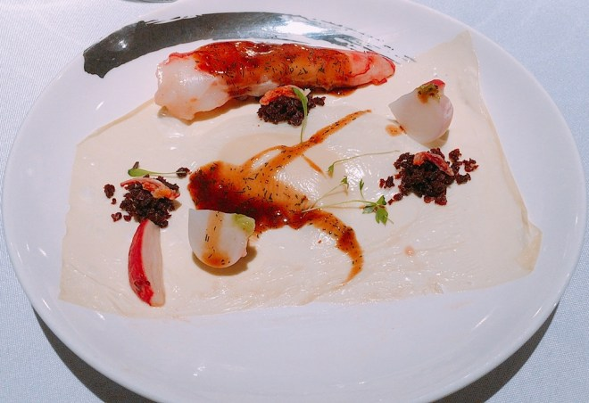 Shrimp -- Yuba, Caramelised Onion and Dill. So many elements but Chef Francisco hit the spot with all