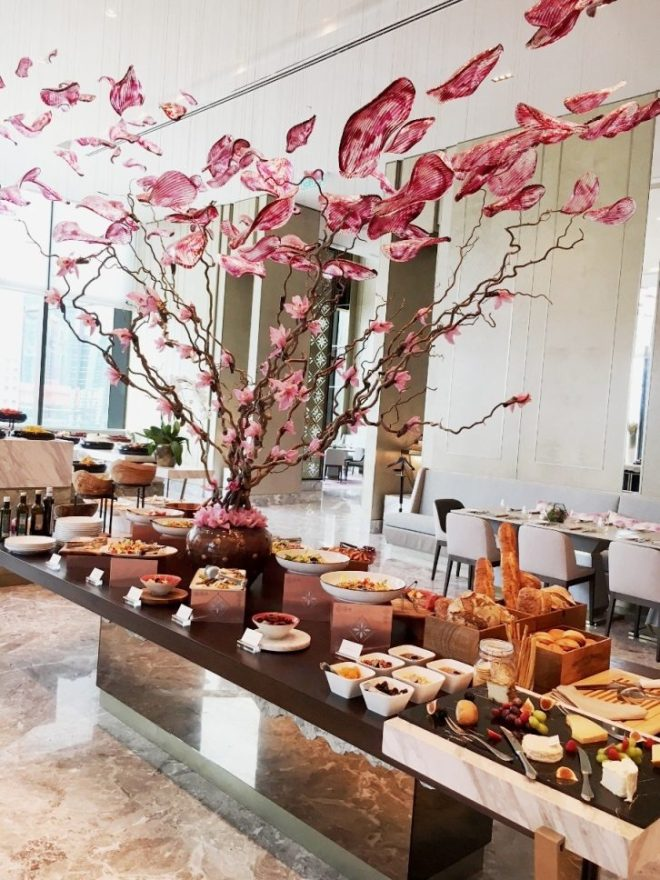 Cheeses, breads, salads and other appetisers catch the eye on entering the restaurant