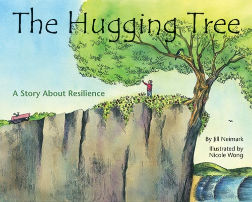 The Hugging Tree. A little tree that is hanging off a cliff and a little boy touching it's branches.