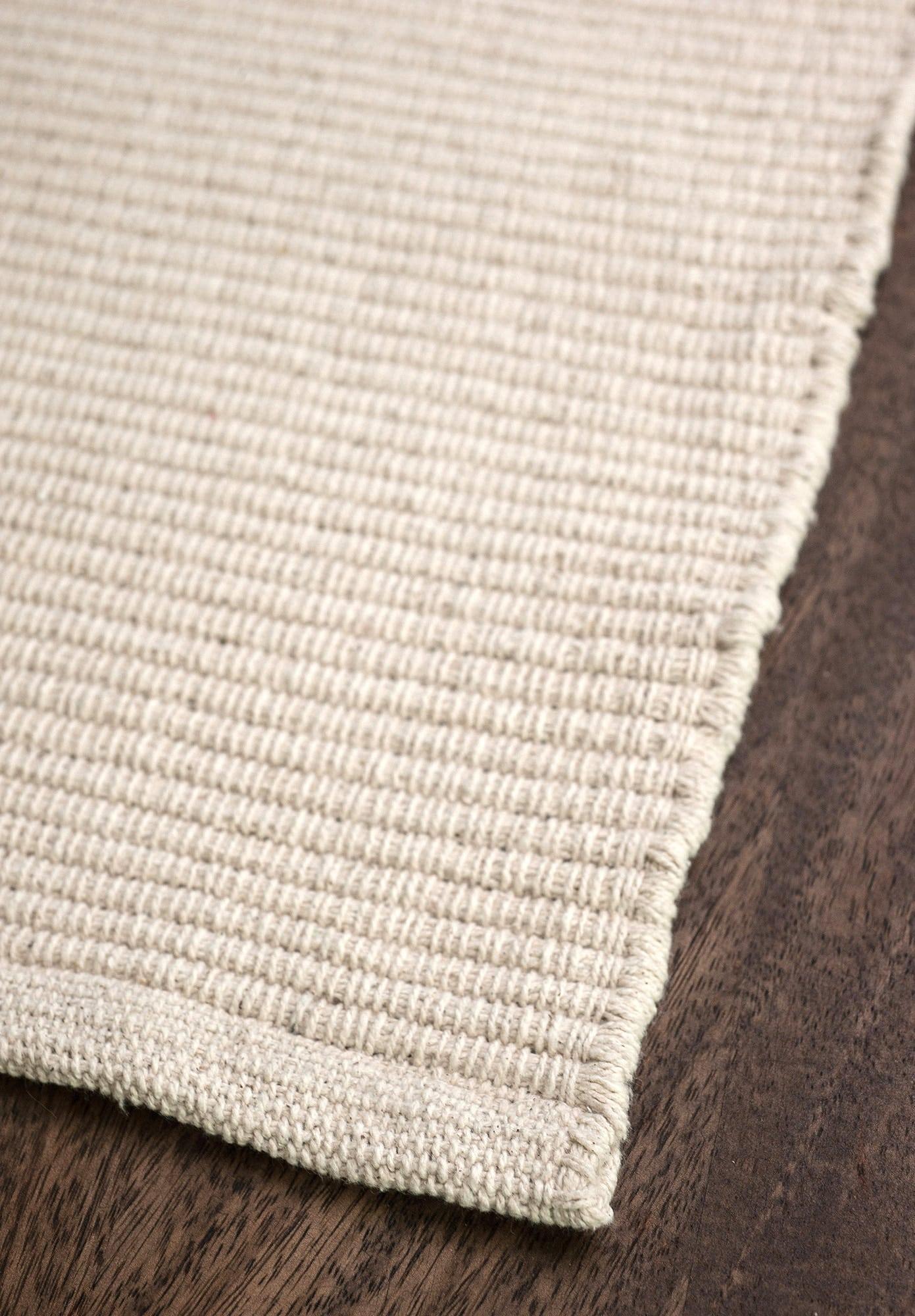 Solid Natural Flatweave Eco Cotton Rug  Hook  Loom