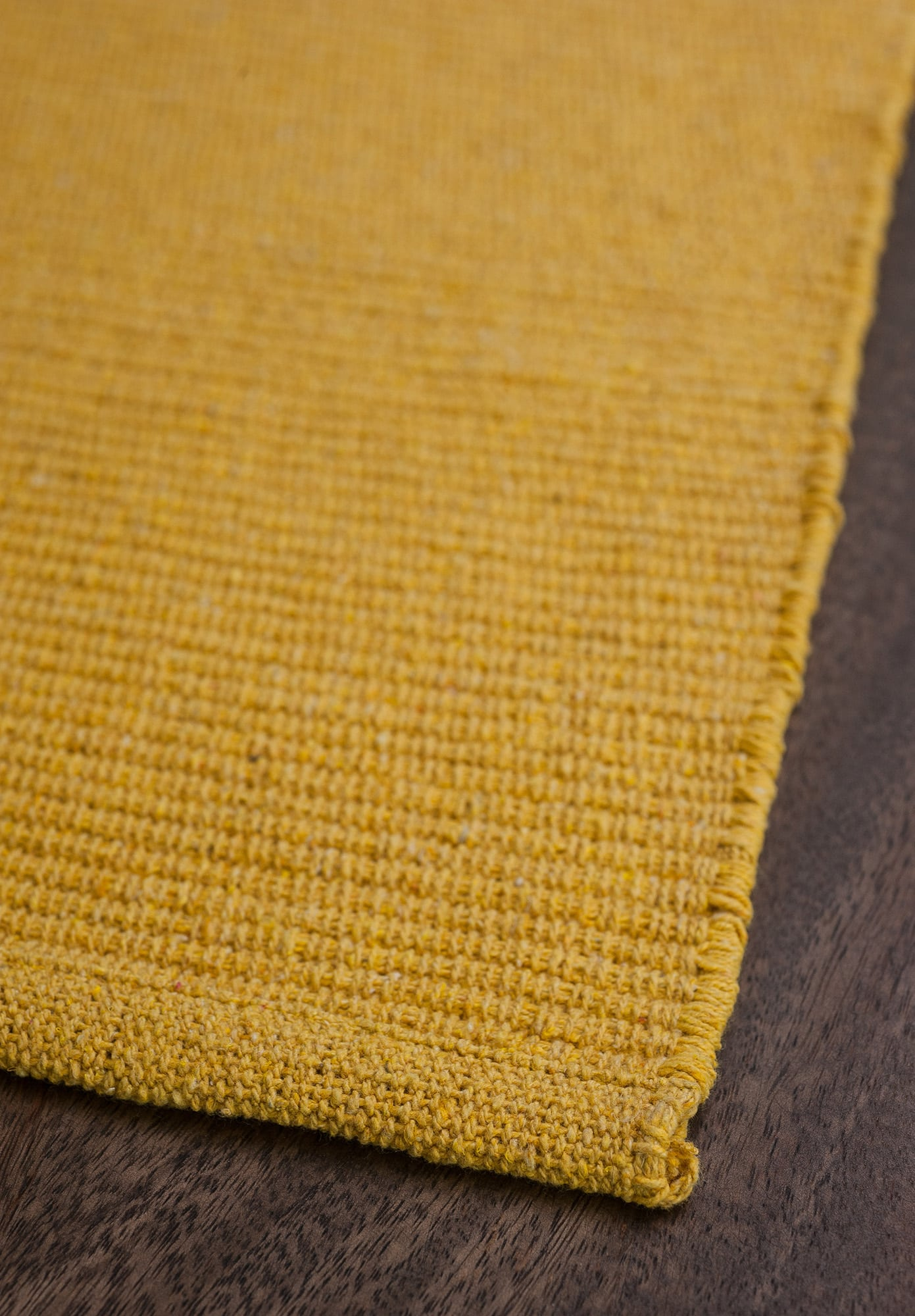 Solid Yellow Flatweave Eco Cotton Rug  Hook  Loom