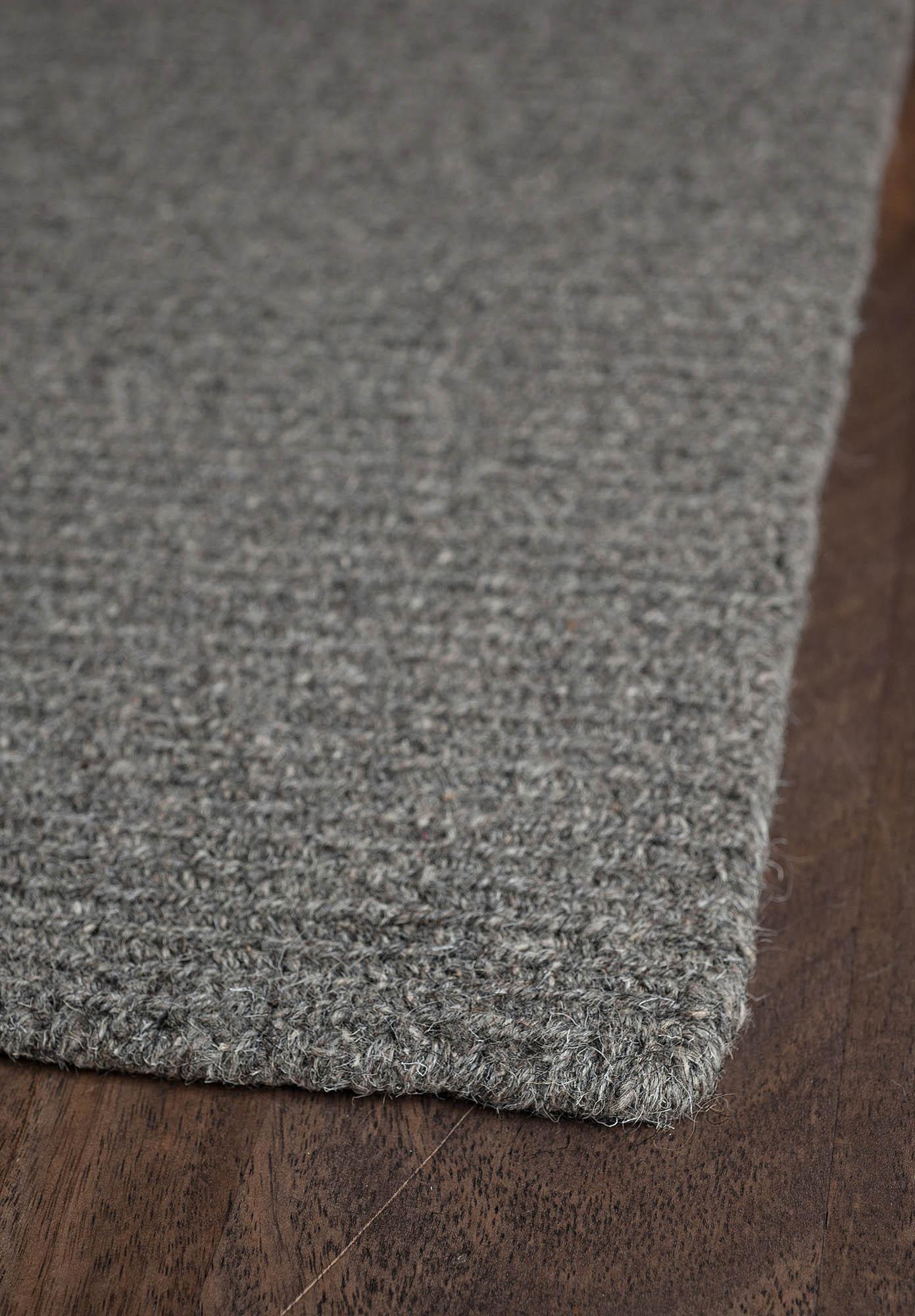 Natural Wool Loom Hooked Rug Solid Grey  Hook  Loom
