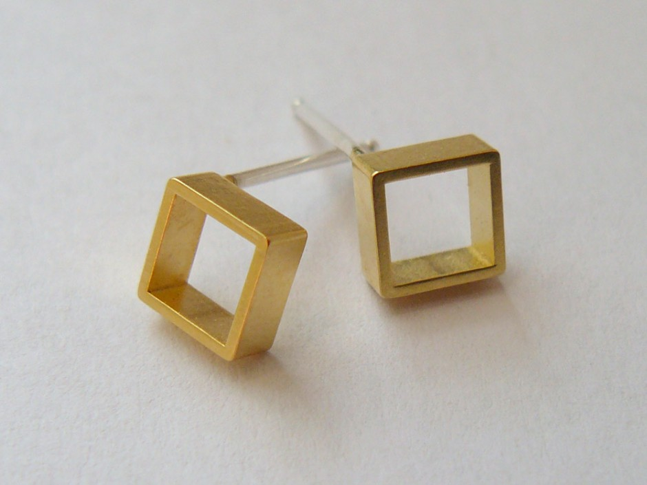 Gold Small Square Stud Earrings Hook Amp Matter Handmade