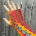 Dragon scale striped mitts in Happily Hooked Magazine Southwest Sunset issue