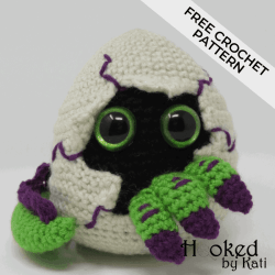 Hatching Dragon Egg Amigurumi Free Crochet Pattern. Also Hatching Dinosaur Egg. Complete video tutorial. Hooked by Kati