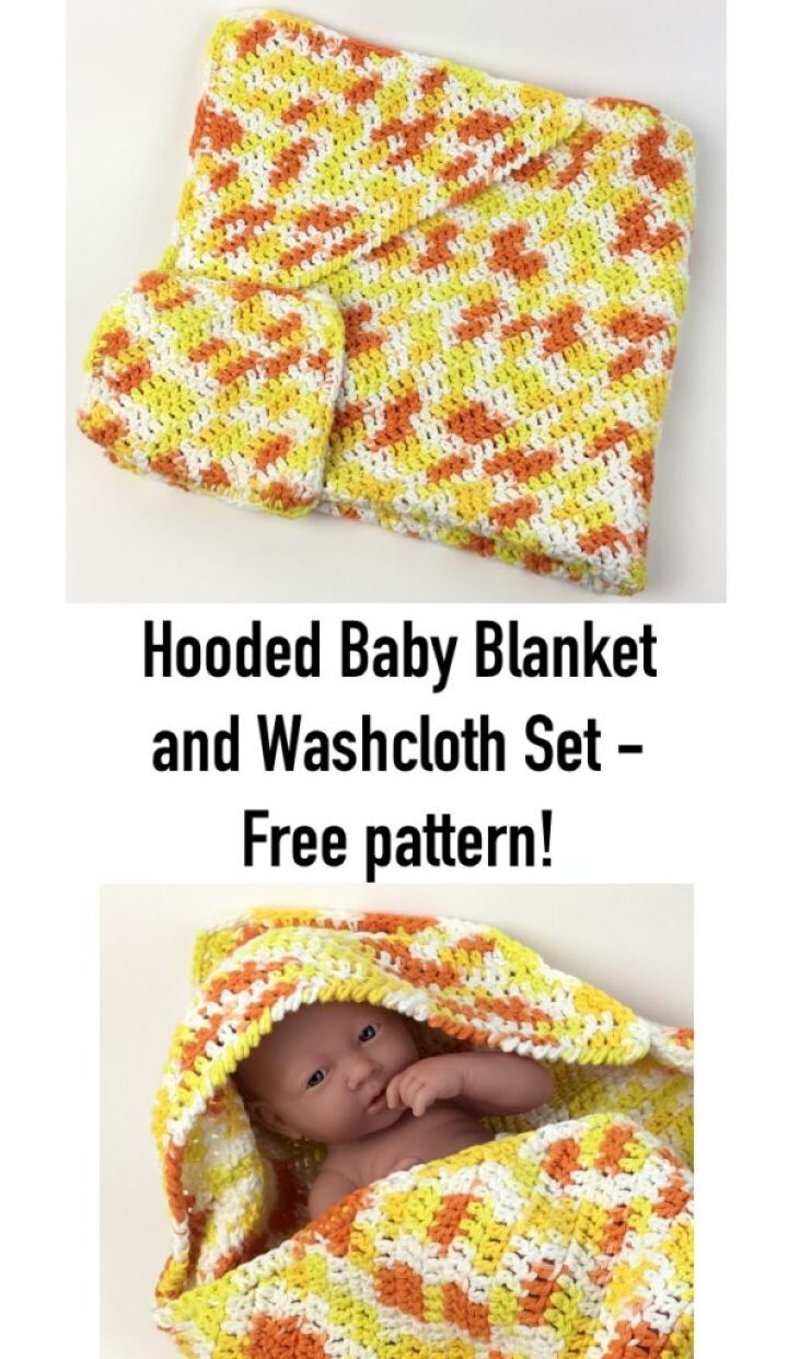 Free crochet pattern for a simple-to-stitch hooded baby bath towel and washcloth set in Lily Sugar'n Cream yarn. Originally in I Like Crochet magazine, now free on the blog!