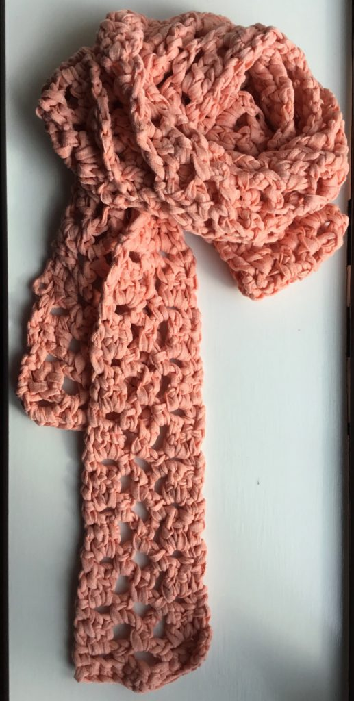 Crochet Scarf pattern by Mary Beth Temple in cotton ribbon yarn from Maccaroni Yarns