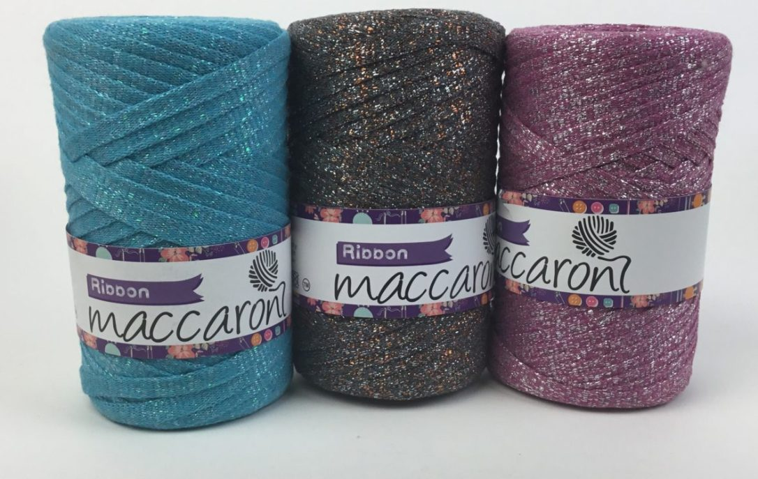 Cotton Ribbon Yarn with sparkly lurex embellishments! From Maccaroni Yarns and Hooked for Life.