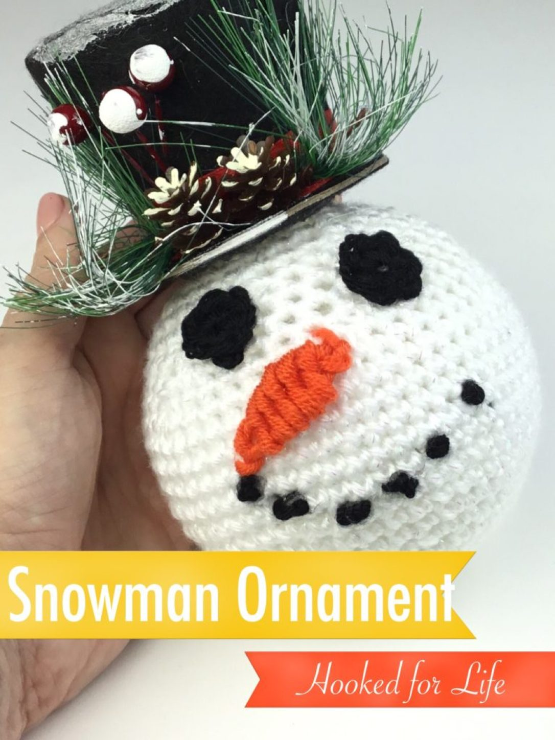 Free crochet pattern for Snowman Ornament. Dollar store parts and scrap yarn make this an inexpensive yet adorable project! #freecrochetpattern #crochet #christmas #christmasornament