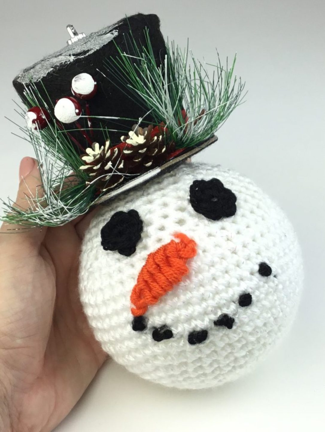 Free crochet pattern for Snowman Ornament with top hat from Dollar Tree #freecrochetpattern #Christmasornament #inexpensivecraft #diy #Christmas