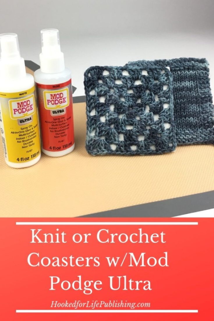DIY coasters with knit or crochet tops using inexpensive tiles, scrap yarn, and new Mod Podge Ultra! #knit #crochet #DIY #modpodge #coaster