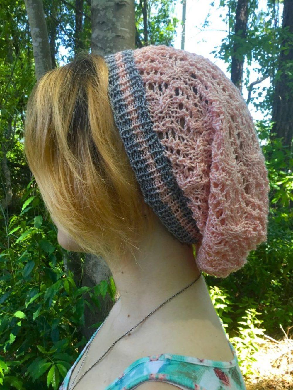 Gertrude, a free knit hat pattern on HookedforLifePublishing.com/blog