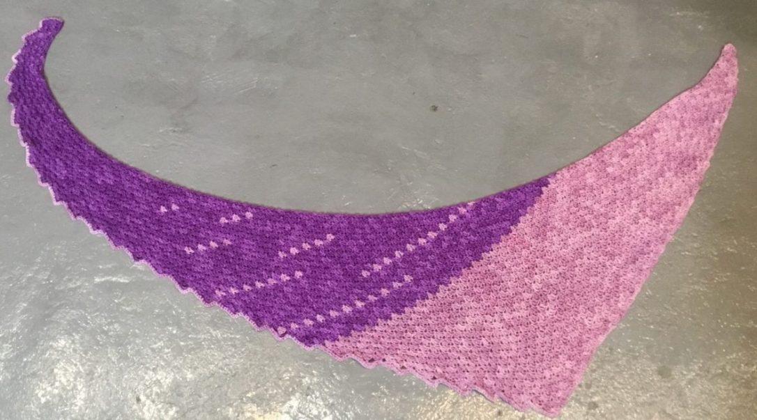 Telegraph Shawl free crochet pattern from Hooked for Life Publishing, yarn is Haiku by Anzula
