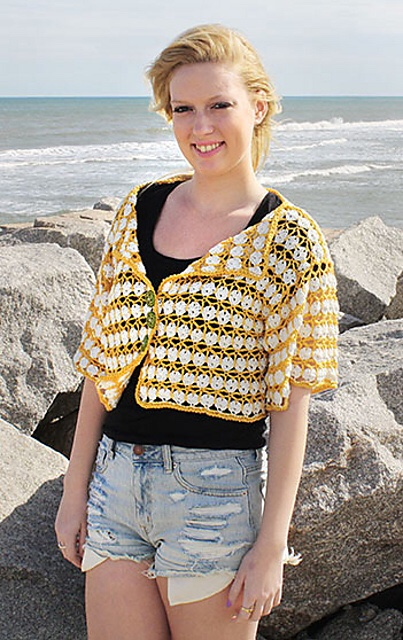 Crochet Lace Top Pattern - the Garden Party Cardi from Hooked for Life Publishing.