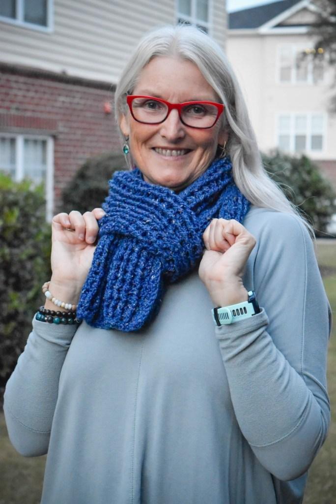 Easy to Crochet Thermal Scarf Free Crochet Pattern on model