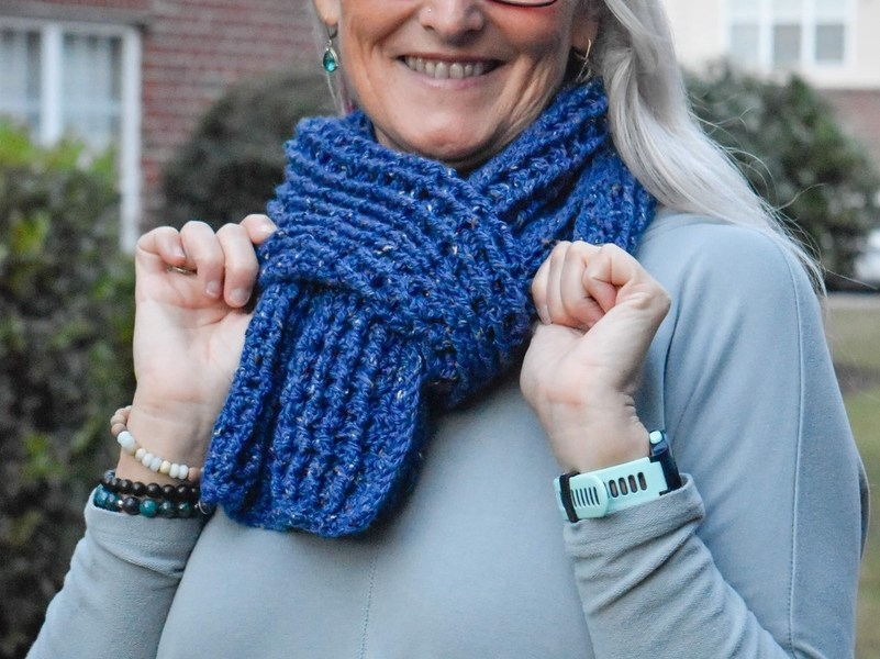 Easy to Crochet Thermal Scarf Free Crochet Pattern on model