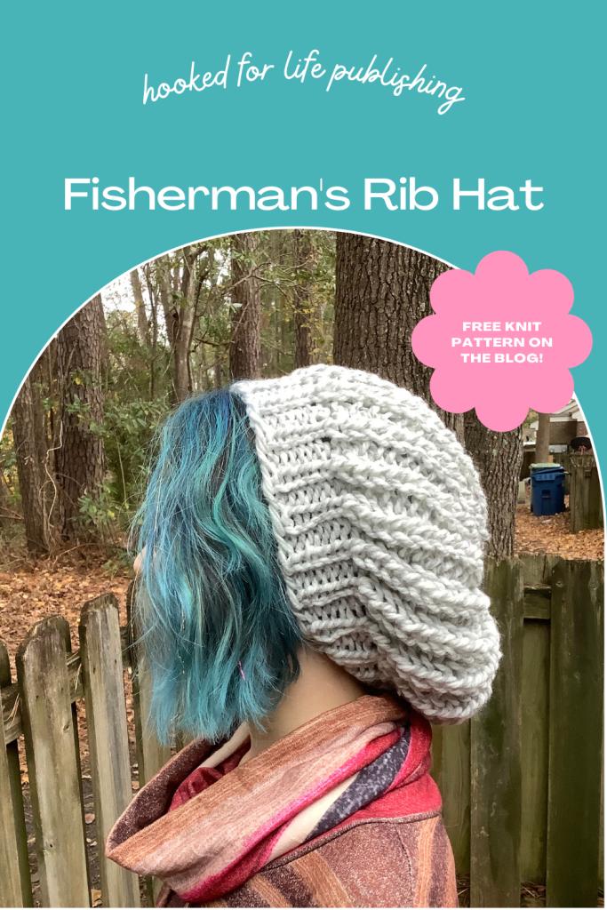 Free knitting pattern and video tutorial, Fisherman's Rib Hat on HookedforLifePublishing.com
