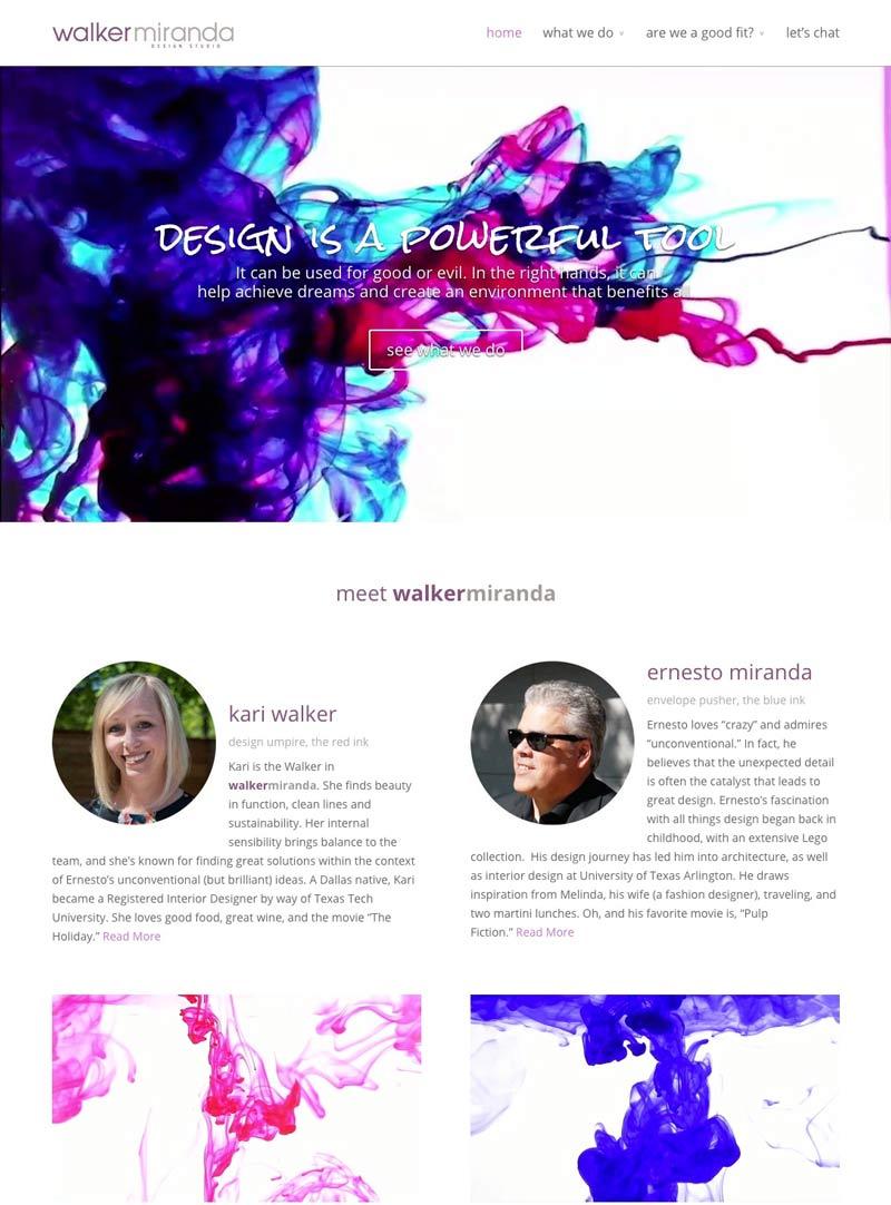Walker + Miranda Interior Design Studio - Website Homepage After Redesign